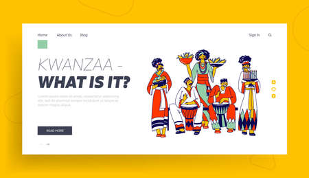 Kwanzaa Celebration Landing Page Template. African Characters in National Costumes Playing Drums, Carry Traditional Meals and Candles. African-american Culture. Linear Vector People Illustration