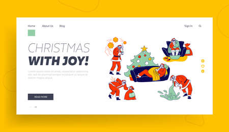 Sick Santa Claus Landing Page Template. Character Wrapped in Blanket Soar Feet, Vomit, Radiculitis Illness, Sneezing. Unhappy Grandfather Having Flu Lying on Sofa. Linear People Vector Illustration