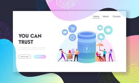 Smart Speaker Landing Page Template. Home Assistant Intelligence Technology. Tiny Characters at Huge Smart Column with Voice Execute Command, Internet of Things. Cartoon People Vector Illustration