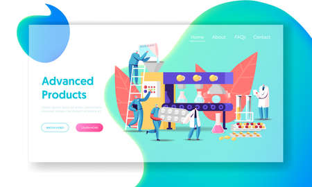 Pharmaceutical Industry Medical Drugs Producing Landing Page Template. Tiny Pharmacist Characters at Huge Production Line Conveyor Belt with Glass Beakers and Pills. Cartoon People Vector Illustration