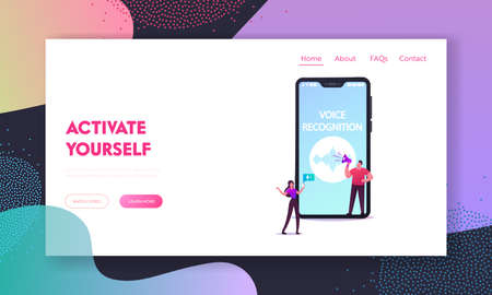 Personal Assistant, Voice Recognition Landing Page Template. Tiny Characters at Huge Mobile Phone with Sound Symbol, Intelligent Technologies. Woman with Cellphone. Cartoon People Vector Illustration Stock Illustratie