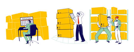 Physical Inventory Count Management. Storekeeper Characters Manage Warehouse Cargo Loading, Unloading and Sorting Stock Storage of Parcels with Products for Shipment. Linear People Vector Illustration Vettoriali