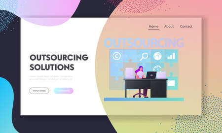 Outsourcing Landing Page Template. Business Woman Character Working in Office Sit at Desk with Laptop at Huge Puzzle on Wall. Company Use Professional Outsourced Employees. Cartoon Vector Illustration