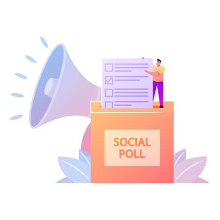 Polling, Presidential Election and Social Poll Concept. Voter Character Casting Ballots at Polling Place During Voting Put Filled Paper Ballot in Box with Huge Megaphone. Cartoon Vector Illustration Ilustrace