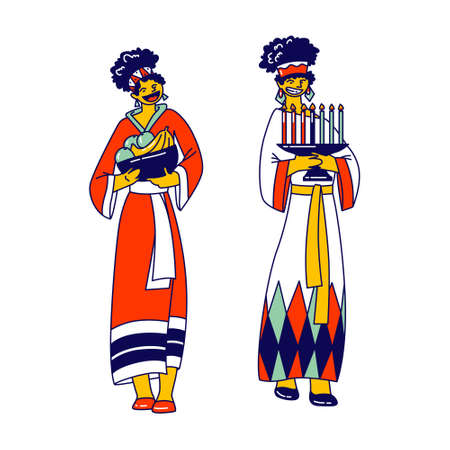 African Tribal Female Characters Wearing Traditional Clothes Holding Candles and Fruits for Kwanzaa Holiday Celebration. People of Africa Ethnic Culture and Heritage. Linear Vector Illustration