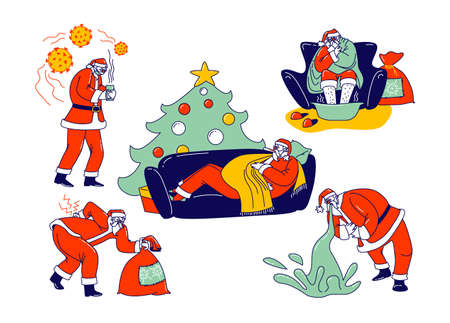 Set Sick Santa Claus Character Sitting in Armchair Wrapped in Blanket Soar Feet, Vomit, Radiculitis Illness, Sneezing. Unhappy Grandfather Having Flu Lying on Sofa. Linear People Vector Illustration Ilustração