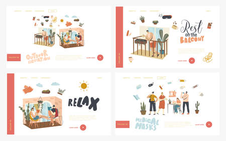 People Relax on Balconies and Wearing Medical Masks Landing Page Template Set. Characters Stay Home During Covid19 Isolation. Neighbors Spend Time Reading, Drinking Coffee. Linear Vector Illustration