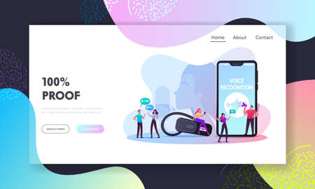 Personal Assistant and Voice Recognition Landing Page Template. Tiny Characters at Huge Mobile Phone, Intelligent Technologies. Woman with Microphone and Headset. Cartoon People Vector Illustration
