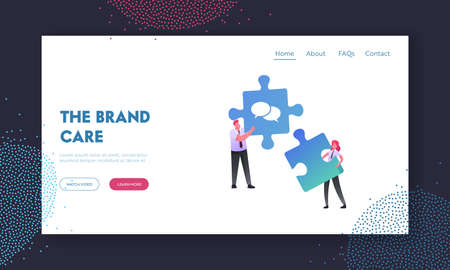 Collective Work, Partnership Landing Page Template. Characters Setting Up Separated Puzzle Pieces. Businesspeople Coworking or Outsourcing Teamwork Cooperation. Cartoon People Vector Illustration Ilustração