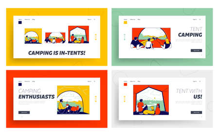 Tent View Landing Page Template Set. Tourists Characters Family with Child and Man with Pets Sit in Camping Tent Looking on Beautiful Picturesque Nature Landscape. Linear People Vector Illustration Ilustração