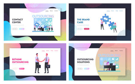 Outsourcing Landing Page Template Set. Businesspeople Working at Huge Puzzle Put Pieces in empty Holes. Business Men Characters Shaking Hands. Outsourced Employees. Cartoon People Vector Illustration