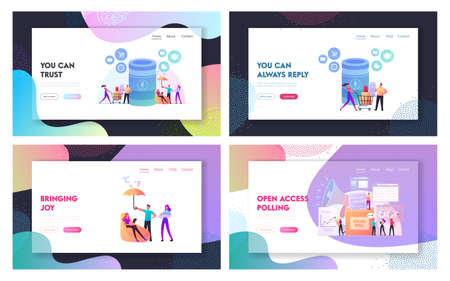 Smart Speaker, Social Poll Landing Page Template Set. Home Assistant Intelligence Technology. Tiny Characters at Huge Smart Column, Voters Polling in Election. Cartoon People Vector Illustration Banco de Imagens - 150825771