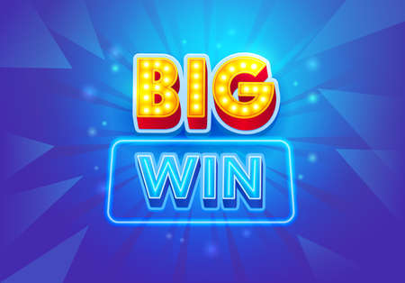 Big Win Banner for Gambling Games or Online Casino. Winner Greeting Poster, Fortune and Victory Celebration. Creative Typography on Blue Background with Neon Lights, Billboard. Vector Illustration Ilustração