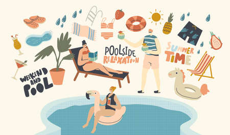 Pool Party Relax, Swim and Drink Summer Activity Concept.Young Characters in Swimming Pool Have Fun Drinking Cocktails, Reading Book and Floating Inflatable Ring. Linear People Vector Illustration