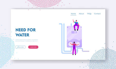 Masters Characters Make Installation of Smart Heater Landing Page Template. Home Electric Heating System. Workers Handymen Set Up Equipment for Home Climate Control. Cartoon People Vector Illustration