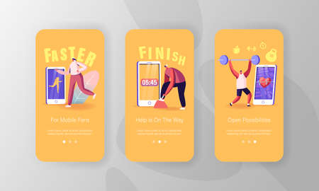 Sports App Mobile Page Onboard Screen Template. Characters Training in Gym and Outdoors in Sneakers Connected to Smartphone. Smart Technology in Sport Concept. Cartoon People Vector Illustration Иллюстрация