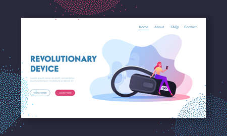 Voice Recognition, Smart Technologies, Mobile Phone Device Landing Page Template. Tiny Female Character with Cellphone Sit on Huge Headset for Mobile Phone Communication. Cartoon Vector Illustration