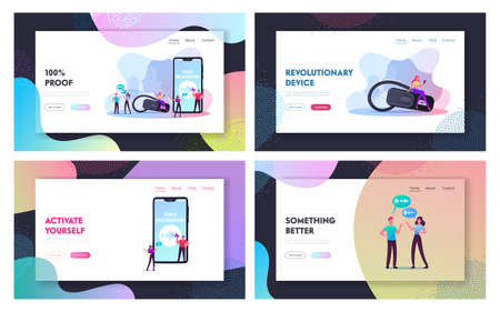Personal Assistant, Voice Recognition Landing Page Template Set. Tiny Characters at Huge Mobile Phone, Intelligent Technologies. Woman with Microphone and Headset. Cartoon People Vector Illustration