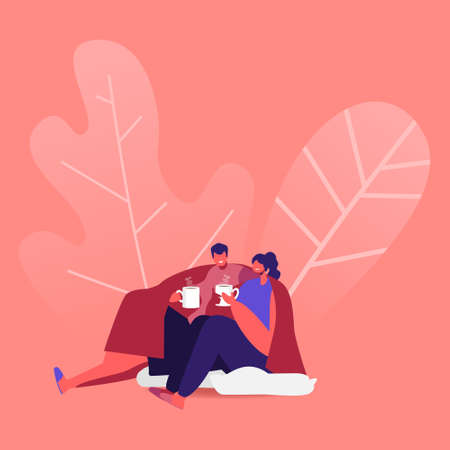 Security, Home Comfort Loving Couple Sitting on Floor under Blanket Drinking Tea and Chatting Illustration