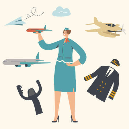 Stewardess Character Wearing Uniform Holding Airplane Model in Hand. Airline Transportation Service, Plane Crew 写真素材 - 151436980
