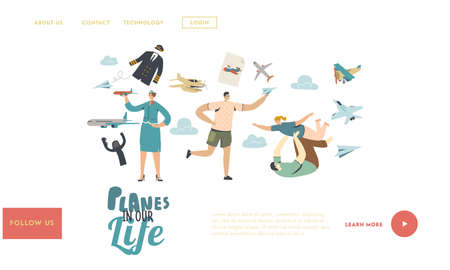 Planes Landing Page Template. Adult Man Playing with Child, Male Character Run with Paper Airplane in Hand 向量圖像