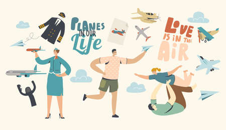 Planes in our Life Concept. Adult Man Playing with Child, Male Character Run with Paper Airplane in Hand Illustration