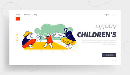 Mom and Dad Teach Kid to Walk Landing Page Template. Baby First Step. Mother and Father Characters Help to Child