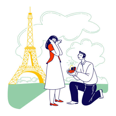 Characters Romantic Proposal in Paris Concept. Man with Engagement Ring Asking Woman to Merry