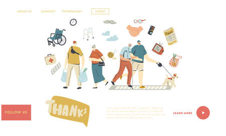 Young Characters Help Seniors Landing Page Template. Old Man Hold Hand of Boy Walking with Dog Together