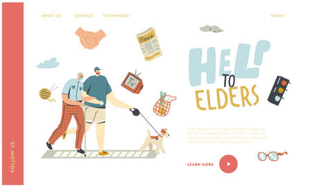Helping and Support Aged Pensioner Landing Page Template. Volunteer Help Senior Man in Medical Mask Walking