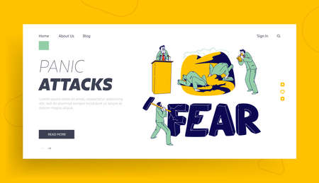 Panic Attack Disorder Landing Page Template. Male Character Fear in Public Place. Psychology, Mental Health Problem Banque d'images - 151437636