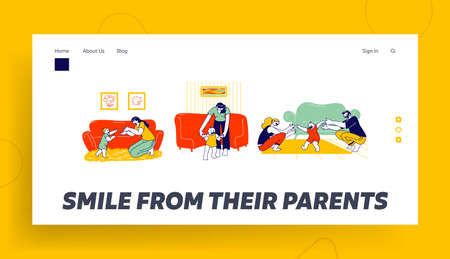 Baby First Step Landing Page Template. Mother and Father Characters Help to Child Walking. Parents Catching Little Kid