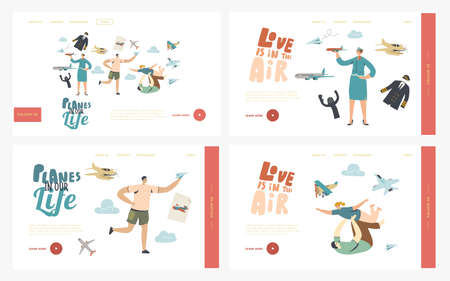 Planes Landing Page Template Set. Male Character Run with Paper Airplane in Hand. Adult Man Playing with Child