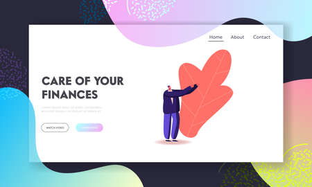 Offering or Begging Landing Page Template. Male Character Stand with Outstretched Hand