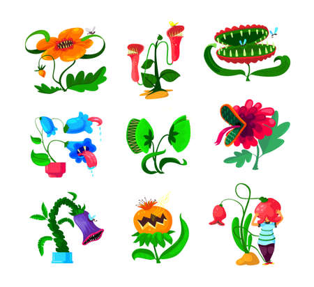Set of Monster Plants Icons, Dangerous Tropical Flowers, Alien Creatures with Sharp Teeth and Poisonous Saliva