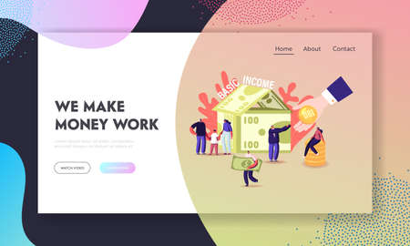 Ubi, Universal Basic Income Landing Page Template. Tiny Characters around of Huge House Made of Currency Bills