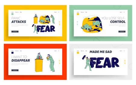 Panic Attack Disorder Landing Page Template Set. Male Character Fear in Public Place. Psychology, Mental Health Problem Banque d'images - 151435733