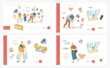 Young Characters Help Seniors Landing Page Template Set. Old Man Hold Hand of Boy Walk with Dog Together Ilustrace