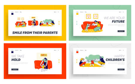 Baby First Step Landing Page Template Set. Mother and Father Characters Help to Child Walking