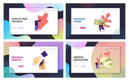 Ubi, Universal Basic Income Landing Page Template Set. Tiny Characters around of Huge House