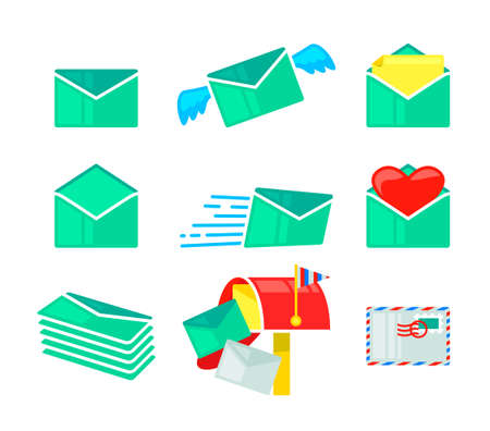 Set Envelopes Icons, Closed and Open Paper Covers, Letter Package with Wings for Business Documents and Love Messages,
