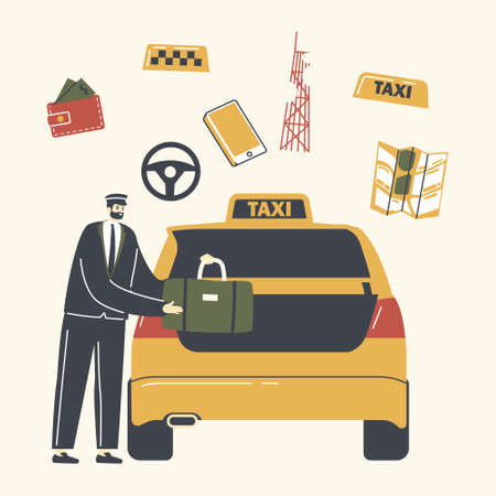 Experienced Driver Character in Uniform and Cap Loading Passenger Luggage to Car Trunk in Airport or Street. Destination