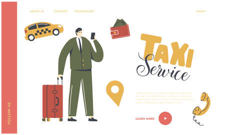 Man with Luggage Calling or Using Application for Ordering Taxi Landing Page Template. Customer Character Waiting Car Ilustración de vector