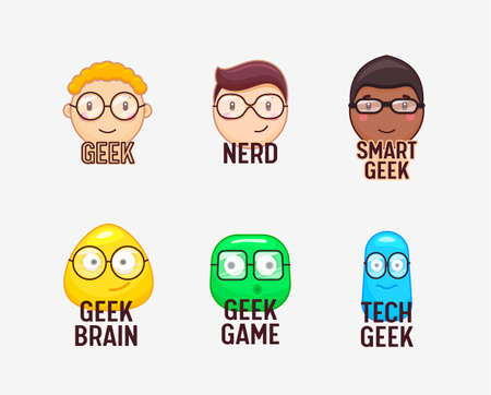 Set of Icons Nerds and Geeks Funny Faces Isolated on White Background. Smart Boys Students Characters Wearing Eyeglasses