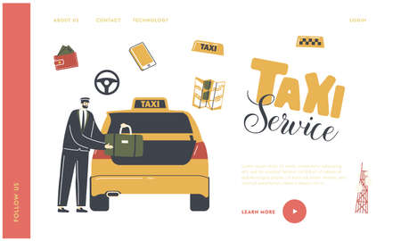 Taxi Order in City Landing Page Template. Experienced Driver Character Wearing Uniform and Cap Loading Luggage to Car