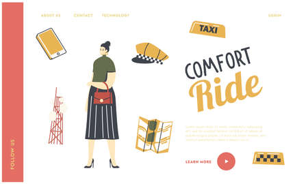 Taxi Service Landing Page Template. Woman Passenger Character with Driver Yellow Cap, Checkers, Smartphone and City Map
