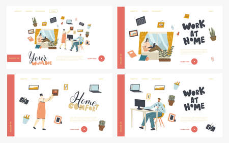 Remote or Stationary Workplace Landing Page Template Set. Freelance Self-employed Occupation, Office Workers Characters Vettoriali