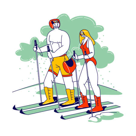 Couple of Young Male and Female Characters Skiing. Man and Woman Wearing Swimsuit and Helmet Riding Ski, Challenge