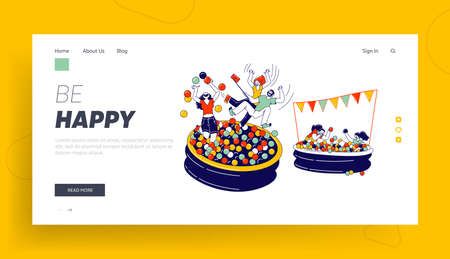 Characters Playing in Ball Pool Landing Page Template. Amusement Park Recreation, Birthday or Event Celebration, Fun