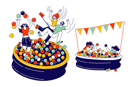 Happy Kids and Adult Characters Playing in Ball Pool. Amusement Park Recreation, Birthday or Event Celebration, Fun
